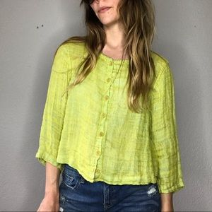 Flax linen neon green button down top